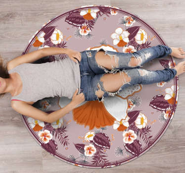Get in your house this amazing round colorful flower  vinyl living room rug . You will be shocked by noticing how much better will be your house!