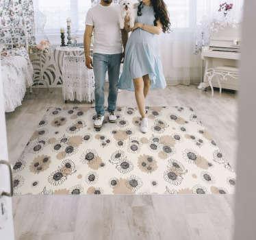 在您的房屋中得到这张手绘图的老式雏菊乙烯基卧室地毯,并震撼所有客人!您可以信赖我们极其耐用的材料。