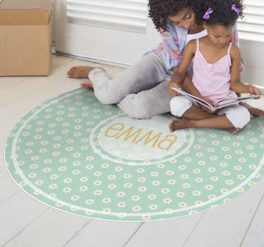 This round daisies kids  vinyl rug with name is the gift you were looking for! Donate some beauty to your kids and make them incredibly happy!