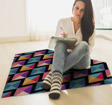 Be the jewel of your own home and decorate your room with this spectacular diamond-shaped geometric vinyl rug filled with a colorful pattern.