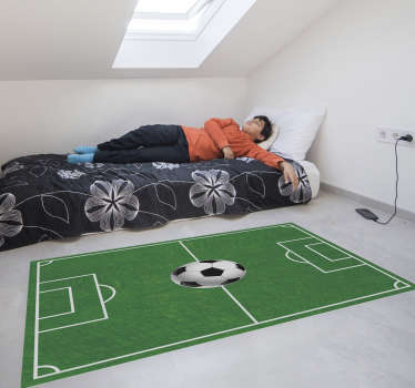 Decorate your kid's bedroom floor with this magnificent football vinyl rug with a football pitch! Choose the perfect size.