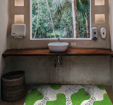 Bring a little bit of nature to your home decor and create a comfortable atmosphere with this nature vinyl rug with a pattern of monstera leaves.