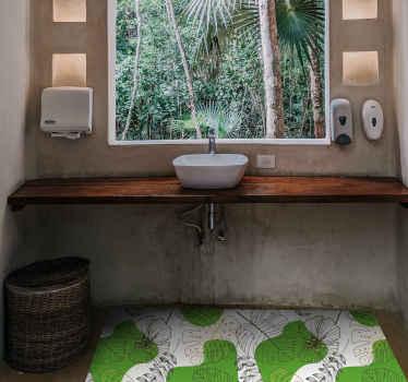 Bringen Sie ein bisschen Natur in ihre Wohnkultur und schaffen Sie eine angenehme Atmosphäre mit diesem Natur-Vinyl-Teppich mit einem Muster aus Monstera-blättern.