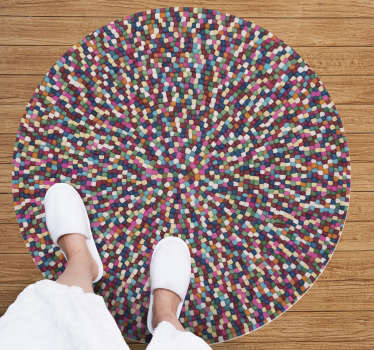 This mosaic vinyl rug made up of balls of various colors will look beautiful in the decor of your living room and is super cheap.