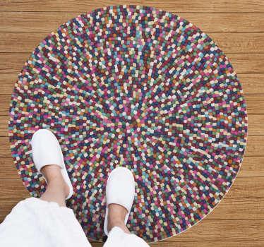 Esta alfombra de vinilo de mosaico hecha de bolas de varios colores se verá hermosa en la decoración de tu sala de estar ¡Envío gratuito!