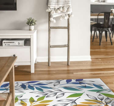 Modern vinyl rug with a flower pattern in rainbow colors perfect to bring color and life to your home's floor! Extremely long-lasting material.