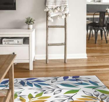Tapete de vinil moderno com um padrão de flores nas cores do arco-íris, perfeito para dar cor e vida ao chão da sua casa! Material extremamente duradouro.