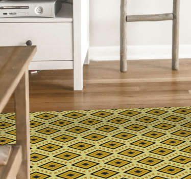 This ethnic vinyl rug with a yellow geometric eye pattern will look beautiful in your living room. Many sizes available.