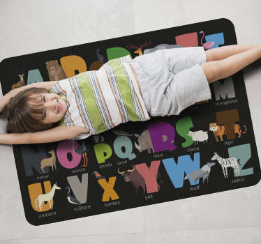 Great vinyl alphabet carpet for kids with a unique design, each letter goes with an animal drawing and the animal's name, what a cute way to learn!