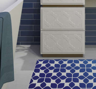 Vinyl Teppich blaues Blumen Mosaik ist perfekt für Ihr Zuhause oder Ihr Büro, weil er Kreativität und Innovationskraft gibt. Wählen Sie Ihre bevorzugten Größen.