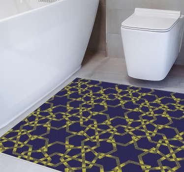 Este tapete de vinil étnico estrelas azul-amarelas trará para a sua casa a tranquilidade dos padrões marroquinos.