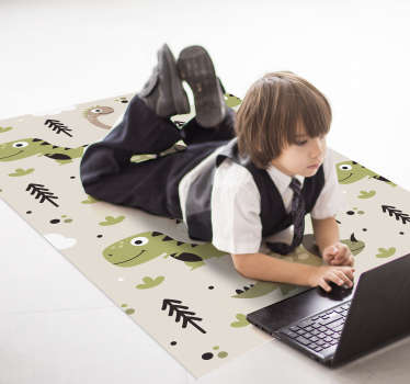 Order the fantastic rectangle vinyl rugs dinosaur and make your kids happy and is available in the size you prefer. Return to a world of dinosaurs!