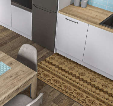 Os tapetes de vinil étnico kilim criarão um ambiente oriental dentro de sua casa. Escolha o tamanho que preferir.