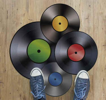 A fantastic vintage vinyl rug made up of several vinyl records that will look spectacular in your entrance hall or even in your music room.