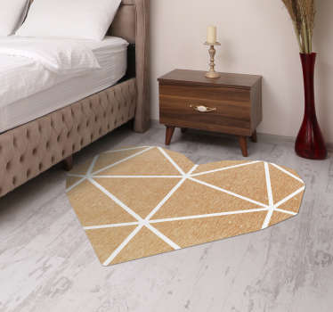 If you are looking for an original rug, don't look further, this beige geometric vinyl rug in a heart shape is perfect for you!