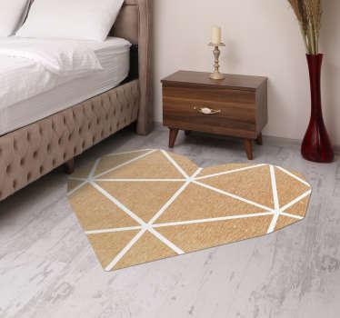 Wenn Sie nach einem originellen Teppich suchen, suchen Sie nicht weiter, dieser beige geometrische Vinylteppich in Herzform ist perfekt für Sie!
