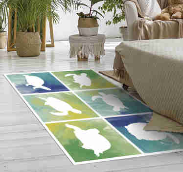 Here we have a unique animal vinyl rug with see turtle tiles. The combination of colors and the turtle tiles will remind you of your last holidays
