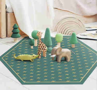 This animal vinyl rug with turtle is a really original product on which your kids will love to play.  Its hexagonal shape makes it unique and modern