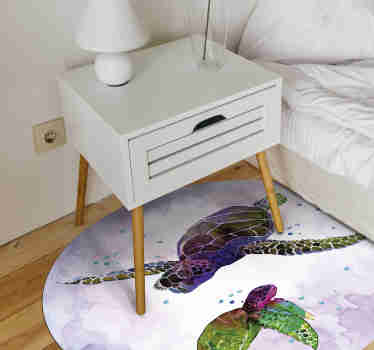 Animal vinyl rug with turtles is a must-have to decorate your room and give it an artistic vibe. The perfect decoration item for animal and art lovers