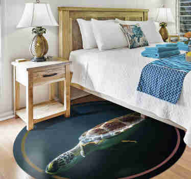 An animal vinyl rug with a realistic image of a turtle swimming in the deep sea that will show your love for sea animals and your room more original!