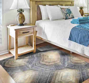 Als je houdt van dierenpatronen en natuurlijke decorstijlen, dan is dit vinyl tapijt met dierenprint van een schildpadschild perfect voor jou.