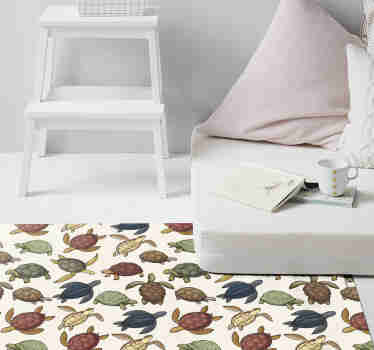 Amazing animal vinyl rug with a pattern of a variety of turtles in different colors with a vintage touch that will look great in your bedroom.