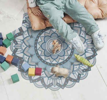 A circular mat mandala vinyl rug to place on any space in the home to create am amazing and unique effect. It is easy to use and maintain.