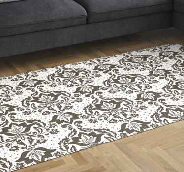 Buy our easy to maintain vinyl rug for your space. It is printed with ornamental vintage flower pattern in brown colour texture.