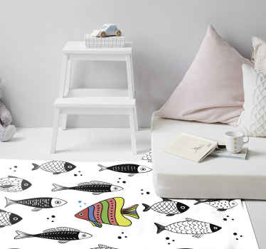 A fantastic designed bedroom special vinyl rug with colorful fishes in a counter flow. It is easy to use and maintain and also of high quality.
