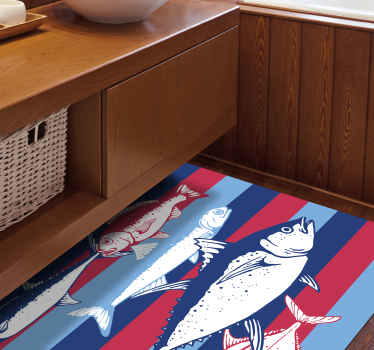 Vinyl rug with hand drawn fish design to improve any space in the home. It is of high quality, easy to use and maintain.