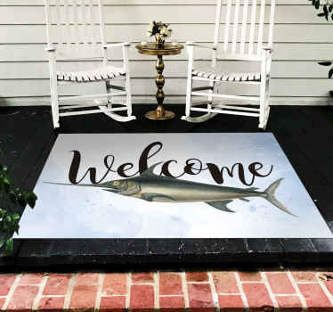 Buy our amazing animal vinyl carpet for home and office use with the design of fish and a welcome text. It is easy to maintain and washable.