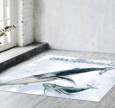 Personalice el texto de su elección en nuestra alfombra vinilo cocina para su hogar con la característica de peces gigantes ¡Envío a domicilio!
