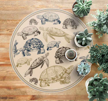 Turtles beige background animal vinyl rug to decorate the floor space of your home.  It is easy to maintain, anti slippery and very durable.