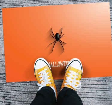 An ideal rectangular orange background vinyl rug with spider and Halloween text in a terror style. It is easy to maintain.