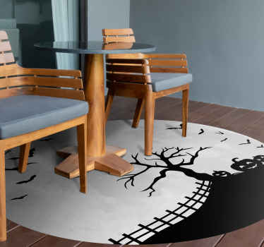 A decorative floor vinyl rug to beautify your space and give it some class . It features a lunar moon design and it is easy to maintain.