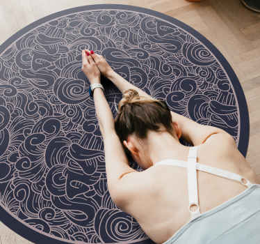An abstract paisley designed round vinyl rug to decorate your floor space. It is easy to maintain and anti slippery.  Available in different sizes.