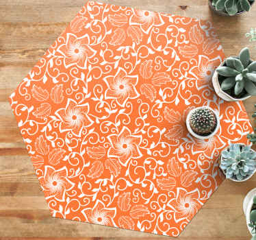 Bring unique and modern touch to the home in our orange colour vinyl carpet with paisley design patterns. It is easy to clean.