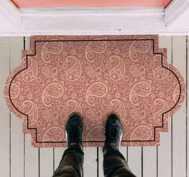 An original vinyl rug with a unique design style and shape that would be nice for an enterance and any other space in a house.