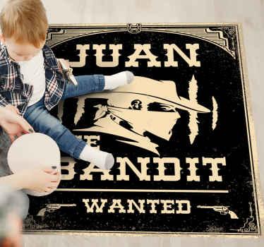 Tapis vinyle bandit avec un nom personnalisable. Vous pouvez également choisir la taille que vous voulez. Il est fabriqué avec des matériaux de bonne qualité et facile à nettoyer.