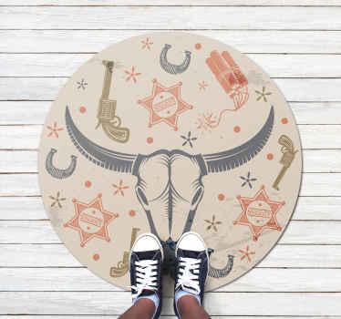 Increíble alfombra vinílica redonda colorida que puedes usar para decorar la habitación de un niño. Diseño patrón cowboy ¡Envío a domicilio!