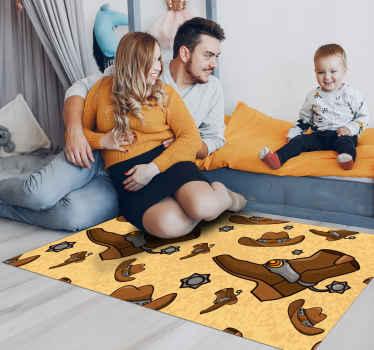 Un incroyable tapis vinyle avec un design cow-boy. Ce tapis de sol est présenté avec des bottes et chapeaux de cow-boy. Il est facile à entretenir.
