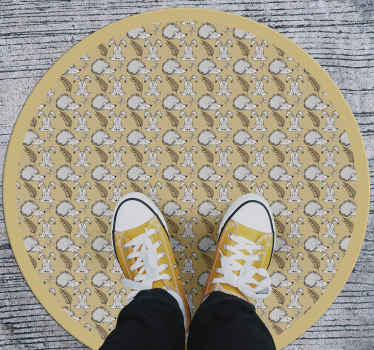 Beautiful vinyl rug with porcupine and rabbit designs on yellow colour background. It is easy to maintain and it quality is top.
