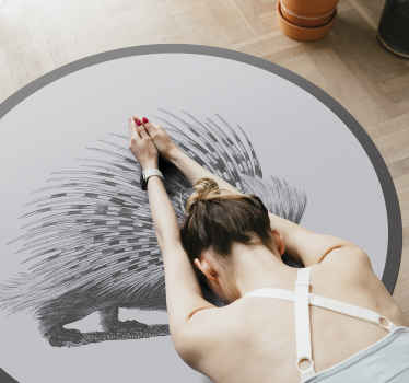 Round tip-vinyl rug designed with amazing deign of an animal. It is made with top quality material and easy to maintain.