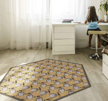 Customise a name on our amazing animal prints vinyl rug made with top quality material. It is easy to maintain and recommended for kids bedroom.