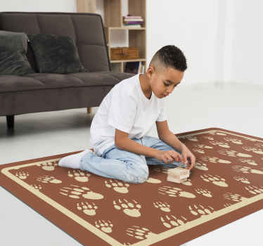 Fantastic animal vinyl rug with foot prints design on brown background. The product is easy to maintain and it quality is top.