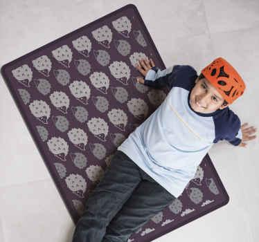 Achetez ce tapis vinyle rectangulaire comportant des silhouettes de hérissons. Il est fabriqué avec un matériau de haute qualité et est facile à entretenir.