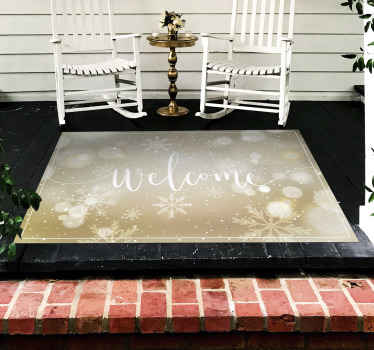 Featured Christmas pattern vinyl rug design. A suitable entrance hall vinyl carpet inscribed with ''Welcome'' and it has shiny snowflakes effect.