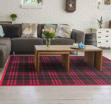 Alfombra vinílica salón de rayas con estampado de tartán navideño. Diseño rectangular de patrón especial de alta calidad ¡Envío a domicilio!