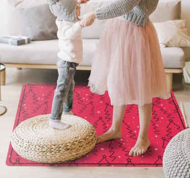 圣诞树线乙烯基卧室地毯。适用于办公室,家庭等空间。由高质量,防滑和易于维护制成。