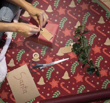 糖果图案圣诞乙烯基地毯。令人惊叹的设计可以为适合家庭的任何空间(特别是对于孩子)营造圣诞节的气氛。